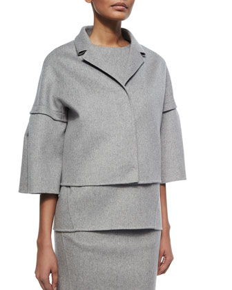 Cashmere Bell-Sleeve Coat, Cashmere Sleeveless Top & Double-Face Cashmere Skirt