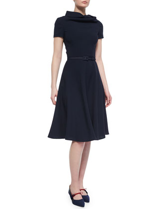 Cowl-Neck Wool Crepe Fit-And-Flare Dress