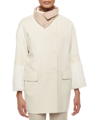 Rabbit-Sleeve Funnel-Collar Cashmere Coat, Rabbit Fur & Wool Cable-Knit ...