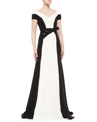 Contrast Belted Tuxedo Gown