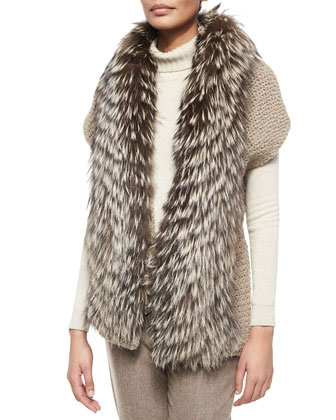 Fox Fur-Trimmed Knit Cardigan, Cashmere Wide Rib-Trim Turtleneck Sweater & ...