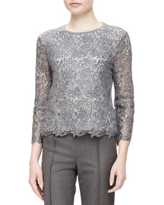 Bracelet-Sleeve Scalloped Lace Top & Pintucked Skinny-Fit Melange Wool Pants