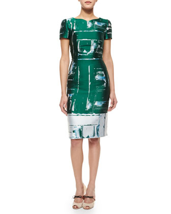 Abstract Paintbrush-Print Jacquard Sheath Dress