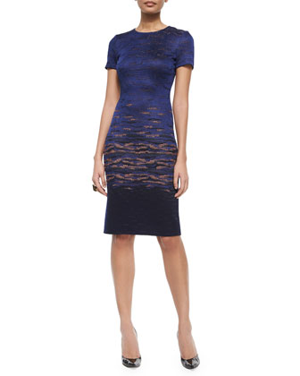 Sunset Jacquard Knit Sheath Dress