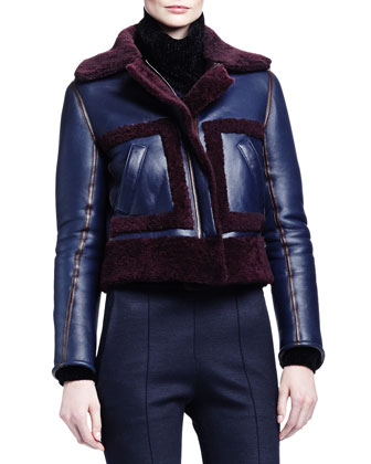 Iconic Shearling Fur-Trimmed Aviator Jacket