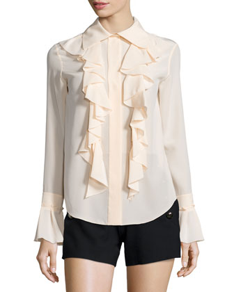 Ruffled tie-Front Blouse & Side-Button Sailor Shorts
