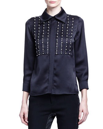 Linear Pearly Detailed Satin Blouse