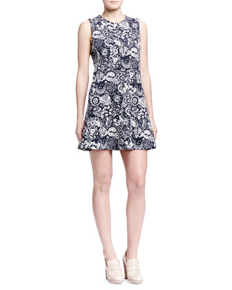 Garden-Print Jersey Fit-and-Flare Dress