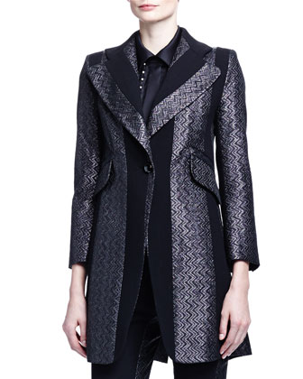 Paneled Zigzag Brocade Long Jacket, Linear Pearly Detailed Satin Blouse & ...