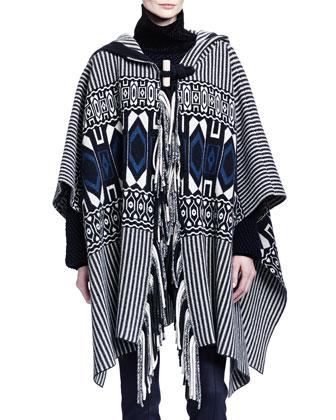 Cashmere-Blend Hooded Geometric-Print Fringe Cape