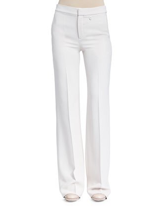 Crepe Sable Flare-Leg Pants, Light Gray