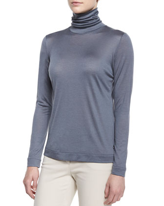 Cashmere-Blend Funnel-Neck Top, Seabed