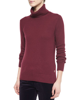Cashmere Glace Chain-Knit Turtleneck Sweater