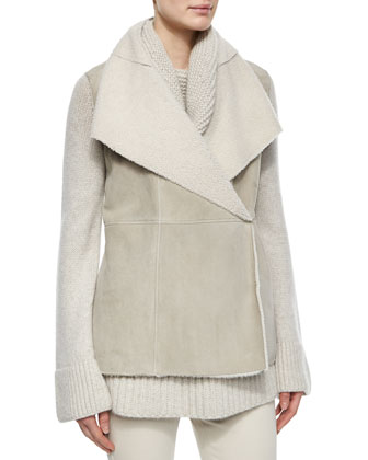 Hartfield Topstitched Shearling Fur Gilet, Chunky Cable-Knit Tunic Sweater ...