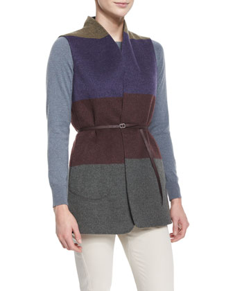 Belted Colorblock Reversible Vest