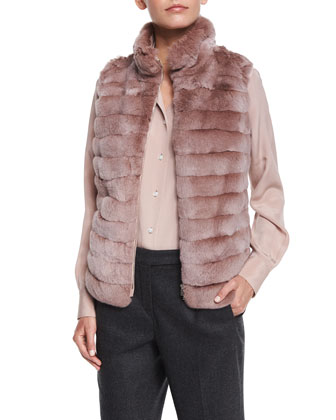 Cashmere Herringbone Three-Button Jacket, Zip-Front Chinchilla Fur Combo ...