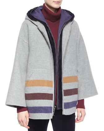 Harvie Striped Hooded Caban Coat, Windmate Mink Fur Reversible Vest, Glace ...