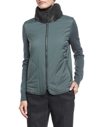 Dean Cashmere Button-Front Coat, Linwood Mink-Collar Wind Jacket & Jari ...