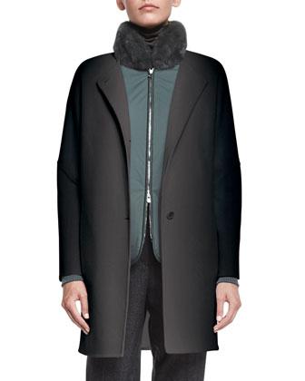 Dean Cashmere Button-Front Coat, Lichen Green