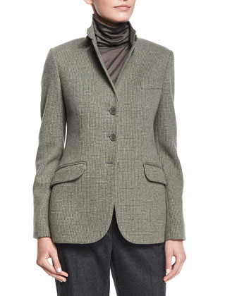 Colin Hooded Leather Coat, Mini Houndstooth Cashmere-Blend Jacket, ...