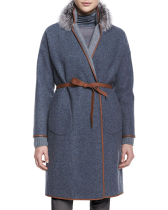Fox Fur-Collar Reversible Belted Coat, Draped-Front Belted Cardigan, ...