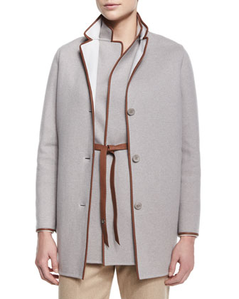 Barnet Leather-Trimmed Caban Coat, Brett Belted Leather-Trimmed Vest, ...