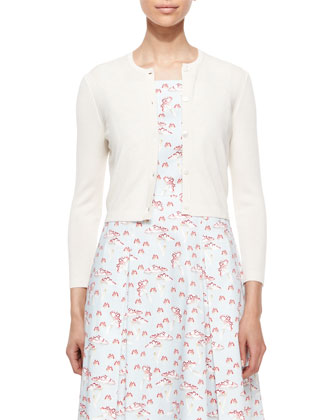 Cashmere-Silk Button Cardigan, Ivory