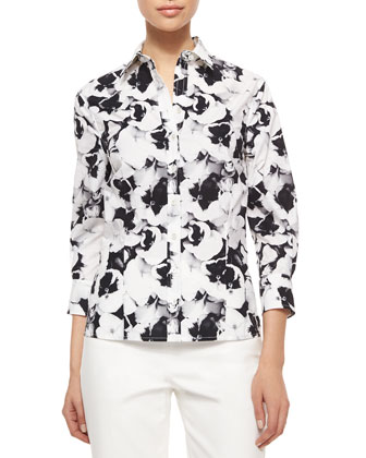 Three-Quarter-Sleeve Pansy-Print Button Blouse