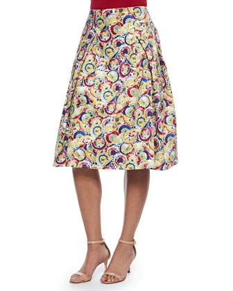 Poplin Button Blouse & Parasol-Print Inverted-Pleat A-Line Skirt