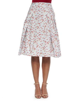 Mushroom-Print Inverted-Pleat A-Line Skirt