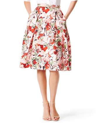 Bouquet-Print Inverted-Pleat A-Line Skirt