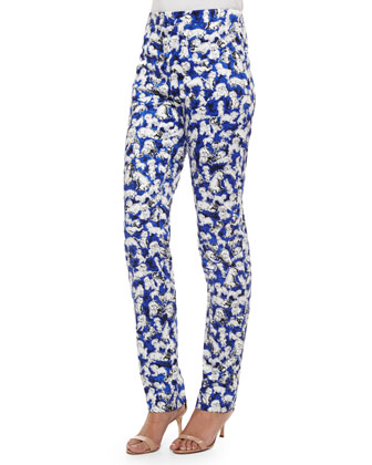 Flat-Front Gaspar-Print Slim-Fit Pants