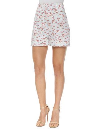 High-Waisted Mushroom-Print Shorts