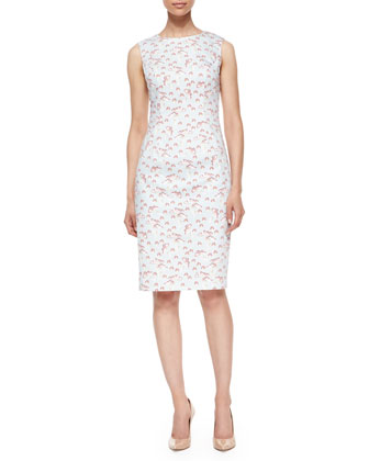Sleeveless Mushroom-Print Sheath Dress