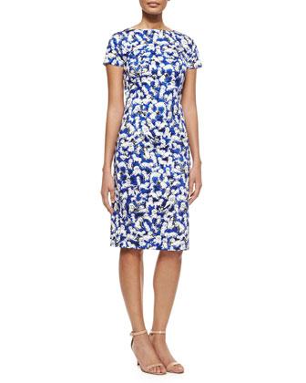 Short-Sleeve Gaspar-Print Sheath Dress