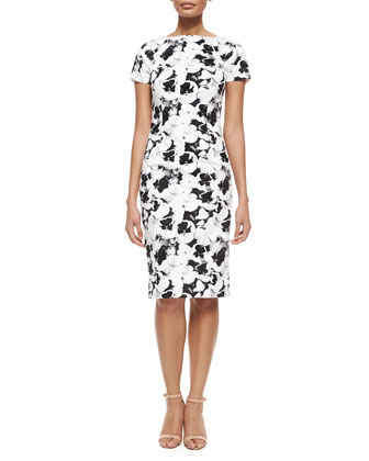 Short-Sleeve Pansy-Print Sheath Dress