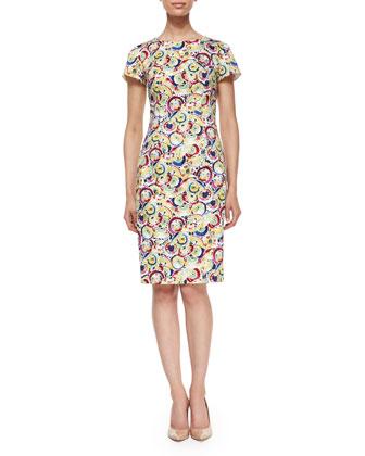 Short-Sleeve Parasol-Print Sheath Dress