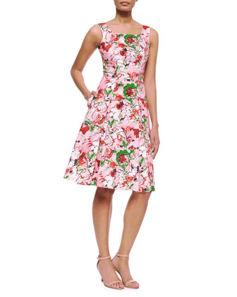 Bouquet-Print A-Line Tank Dress