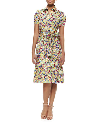 Belted Parasol-Print Shirtdress