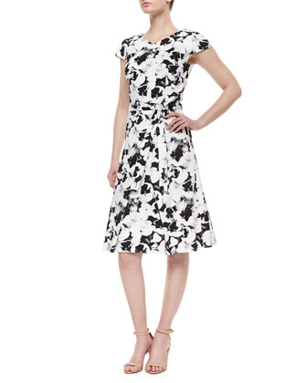 Pansy-Print Belted Inverted-Pleat Dress