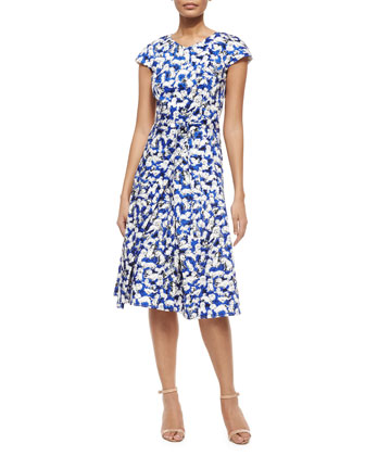 Gaspar-Print Belted Inverted-Pleat Dress