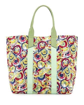 Parasol-Print Coated Canvas Tote Bag