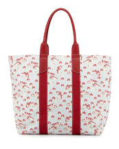 Belted Mushroom-Print Shirtdress & Mushroom-Print Coated Canvas Tote Bag