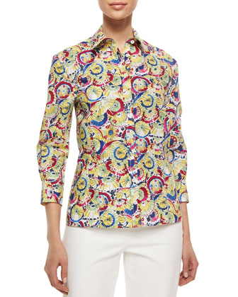 Three-Quarter-Sleeve Parasol-Print Button Blouse