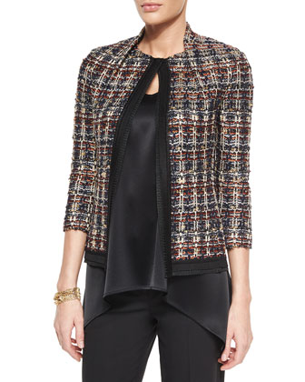 Liquid Satin V-Neck Shell, Wide-Leg Stretch Pants, Opulent Tweed Jacket & ...