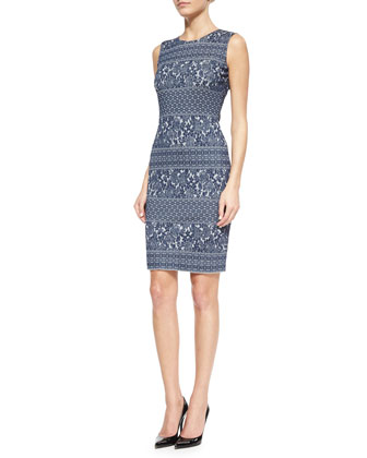 Floral Sculpted Jacquard Knit Dress
