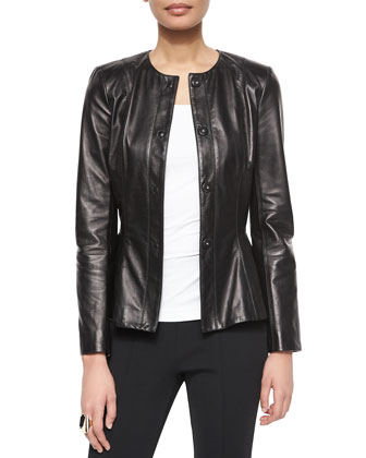 Luxe Napa Leather Peplum Jacket, Scoop-Neck Jersey Shell, Luxe Sculpture ...