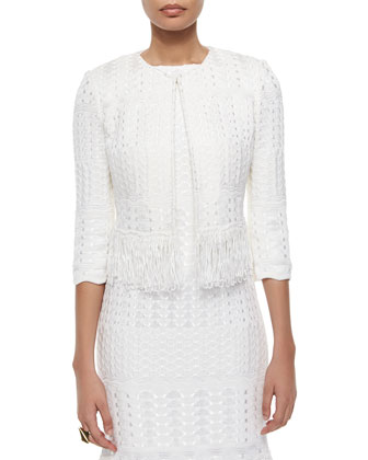 Cachet-Knit Fringe-Trimmed Jacket, Cachet-Knit Fringe-Trimmed Sheath Dress ...