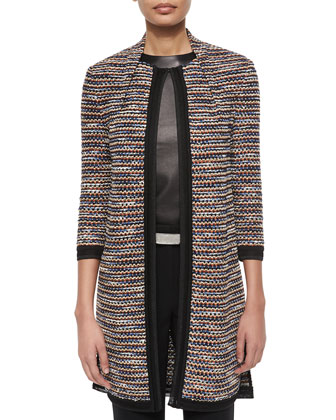 Luxury Draped Inlay Knit Jacket, Short-Sleeve Crepe de Chine Top, Emma ...
