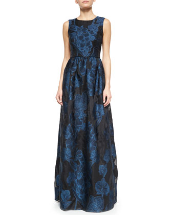 Floral Fil Coupe Sleeveless Gown